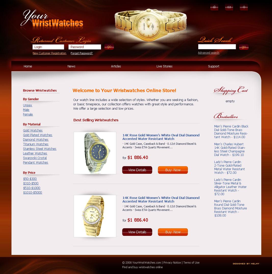 Дизайн интернет-магазина часов
